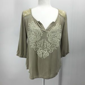 Miss Me Peasant Embroidered Lace Boho Top